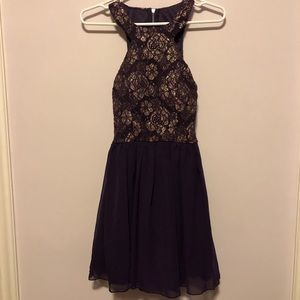 Purple and Gold Formal Homecoming Dress